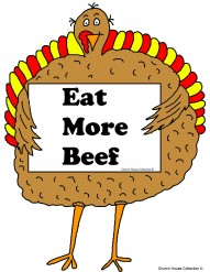 Thanksgiving Turkey Holding Sign That Say's Eat More Beef Clipart picture